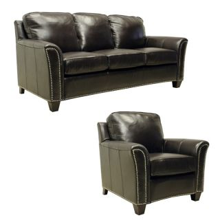 Lancaster Dark Brown Italian Leather Sofa/ Chair Set