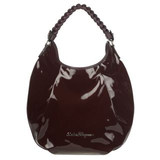 Salvatore Ferragamo Burgundy Patent Leather Hobo Bag