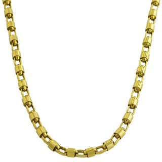 14k Yellow Gold Polished Bullet Link Necklace