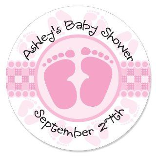 Baby Feet Pink   Personalized Baby Shower Sticker Labels
