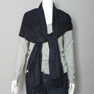 Pashmina Dark Navy Cashmere and Silk blend Shawl