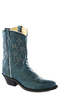OLD WEST Vintage Denim Blue Short Shaft Cowgirl Boot: Shoes