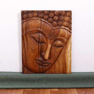 Monkey Pod Wood 20x30 inch Walnut Oil Ushnisha Buddha Panel (Thailand