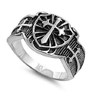 Stainless Steel 15mm Cross & Shield Ring (Size 8   14