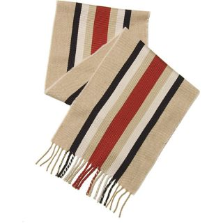 Burberry Camel/ Red/ Black Striped Scarf