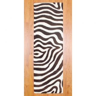 Indo Hand tufted Zebra print Brown/ Ivory Wool Rug (26 x 8