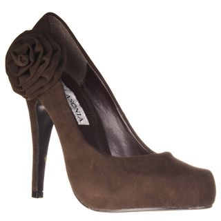 Riverberry Womens Microsuede Rosette detail Hidden Platform Stilettos