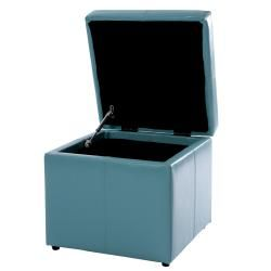 Square Teal Blue Cube Storage Ottoman
