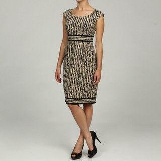 London Times Cap Sleeve Pleated Skirt Dress