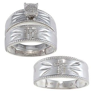 Sterling Silver Diamond Accent Cross 3 piece His and Hers Bridal style