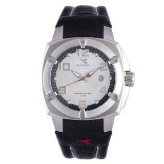 Diadora Mens Silver Dial Black Leather Date Watch