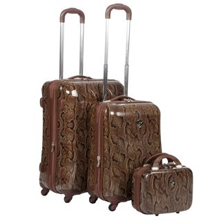 Heys USA Snake Print 3 piece Hardside Spinner Luggage Set