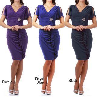 Tabeez Womens Jersey Knit Rhinestone Brooch Ruffle Dress