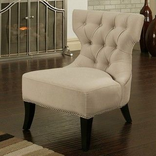 Abbyson Living Sedona Light Cream Microsuede Nailhead Chair