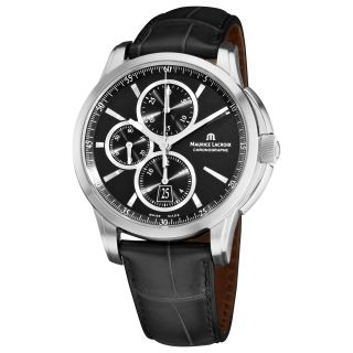 Maurice Lacroix Mens Pontos Chronograph Black Strap Watch