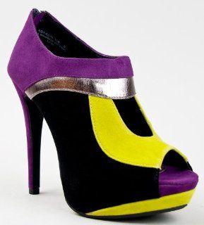 30B Colorblock Peep Toe Platform High Heel Ankle Boot Bootie Shoes