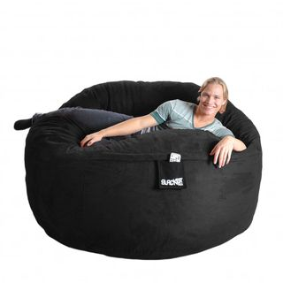 Slacker Sack Black Microfiber and Foam Bean Bag Chair (6 round