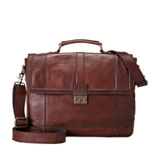 Fossil Lineage Large Dark Brown Leather Messenger Bag