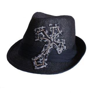Hatter Company Womens Animal Print Rhinestone Cross Fedora Hat
