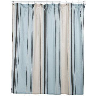 Blue & Brown Stripe Shower Curtain. ~ 144 In. X 72 In.