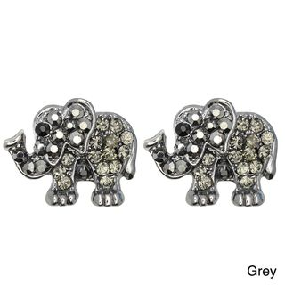 Kate Marie Silvertone Rhinestone Elephant Design Earrings