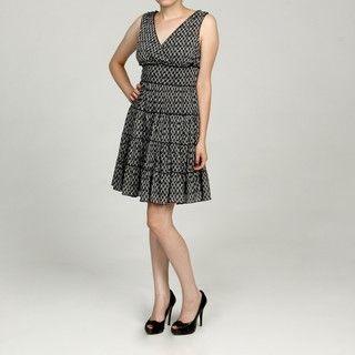 Jessica Howard Womens White/Black Empire Waist Dress