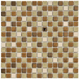 SomerTile 12.25x12.25 in Metal Downtown 3/4 in Beige Porcelain Mosaic
