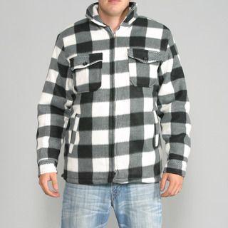 Maxxsel Mens Black/ White Buffalo Plaid Flannel Jacket