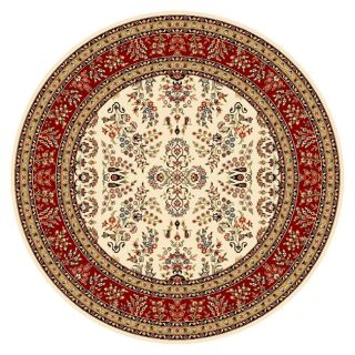 Lyndhurst Collection Aubussons Red/ Ivory Rug (8 ft. Round
