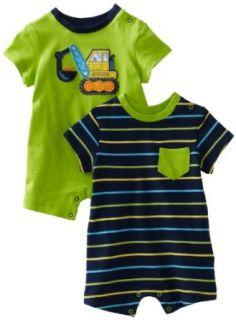Little Me Baby boys Newborn Digger 2 Pack Romper, Green