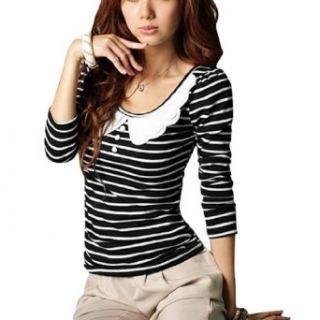 Allegra K Women White Scalloped Collar Striped Shirt Black