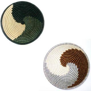 Set of 2 Imigwegwe Plant Fibers Black/ Brown Plateau Baskets (Rwanda