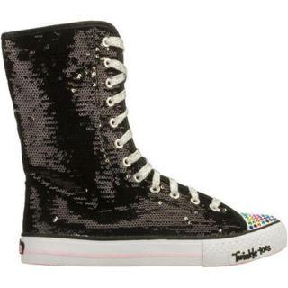 Girls Skechers Twinkle Toes Shuffles Bizzy Bunch Black