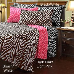Sweet JoJo Designs Pink/ Black/ White Zebra Print 3 Piece Girls Full