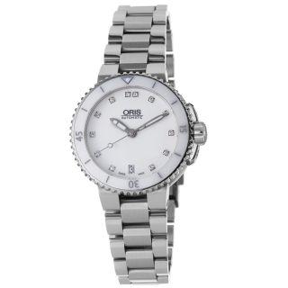 Oris Womens Aquis Stainless Steel White Diamond Dial Watch