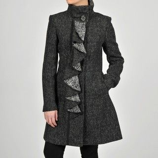 Tahari Womens Tweed Ruffle Front Wool blend Coat