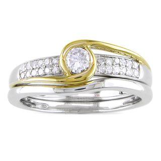 Miadora 14k Two tone Gold 1/4ct TDW Diamond Bridal Ring Set (G H, I1