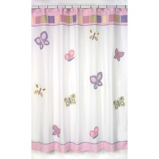 Pink and Purple Butterfly Kids Shower Curtain