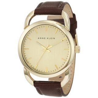 Anne Klein Womens Stainless Steel Leather Strap Watch
