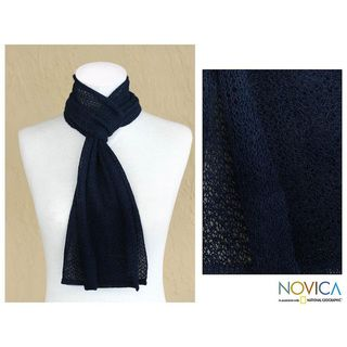 Alpaca Wool Royal Blue Scarf (Peru)