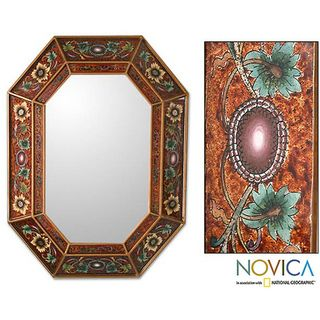 Handcrafed Reverse pained Glass Colonial Red Wall Mirror (Peru