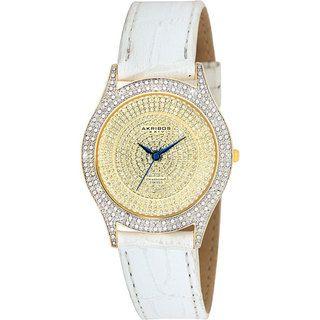 Akribos XXIV Womens Diamond Gold Brilliance Swiss Quartz Strap Watch