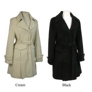 Nicole Womens Angora Blend Belted Coat