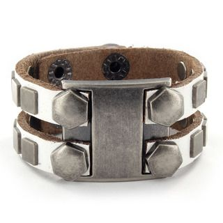 White Leather Metal Bolt Head and Square Stud Bracelet