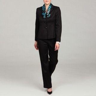 Le Suit Womens Black Three button Pant Suit