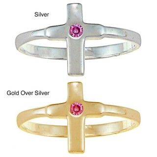 Gold over Silver/ Sterling Silver Pink CZ Cross Baby Ring