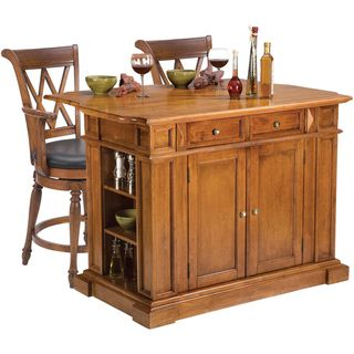 Home Styles Oak Kitchen Island and Two Deluxe Bar Stools