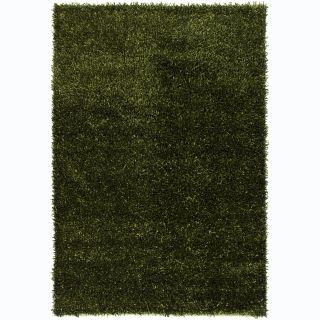 Hand woven Alexa Green/ Black Shag Rug (2 x 3)
