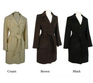 Nicole Womens Classic Angora Blend Belted Coat