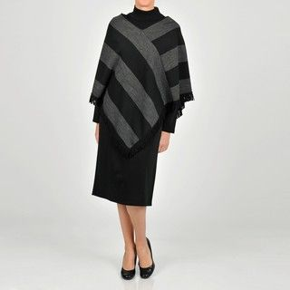 Lennie for Nina Leonard Womens Charcoal/ Black Sweater Dress